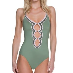NWT Becca Olive Medina One Piece with Crochet